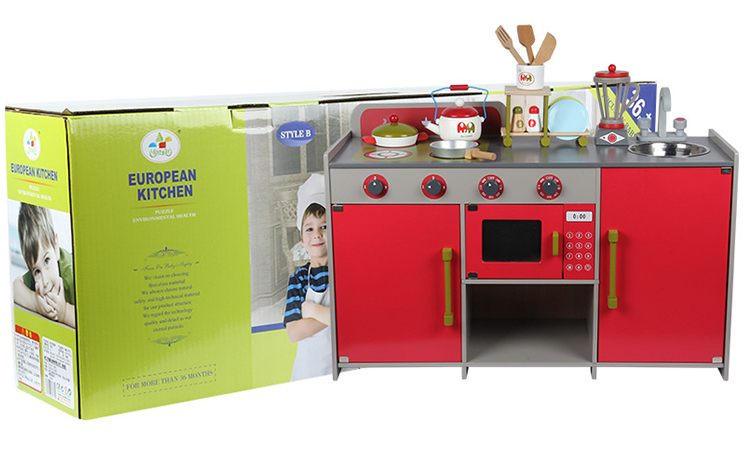 Funny Educational Red Cooking Toy Kids Miniature Kitchen Set Toy Pretend Play