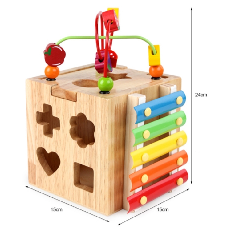 Wooden Material Activity Box Beaded Multi-Function Four-Sided Treasure Box