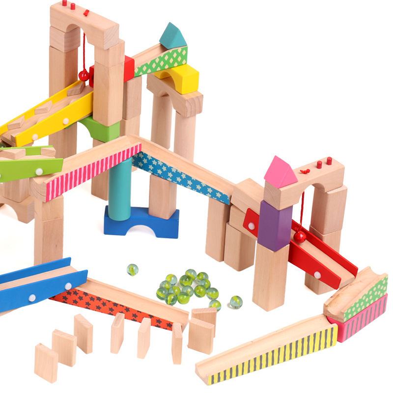 100pcs Wooden Marble Run Block Creative Construction Track Educational Toy