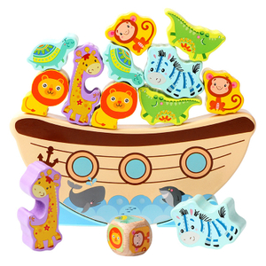Wooden Cartoon Animal Shaped Building Blocks Noah's Ark Balance Toys