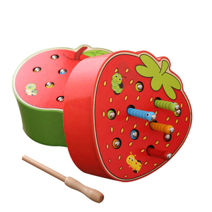 Magnetic Catching Worms Game Wood Toys