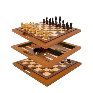 "16"" 2 Built-In 1 Wooden Chess Board Games"