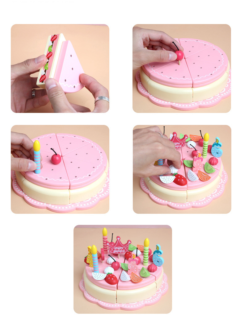 Wooden birthday happy cake toy