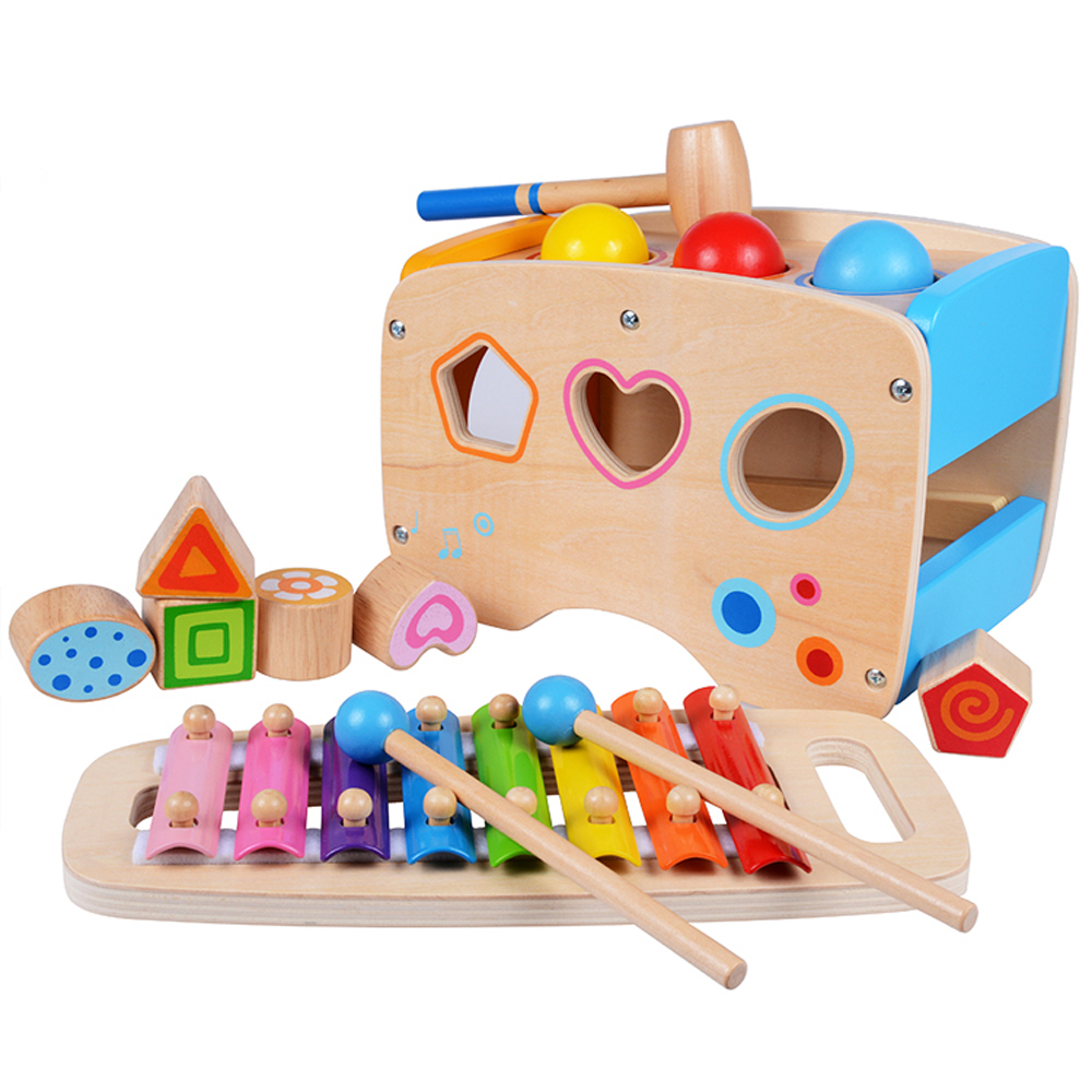 Children Educational Xylophone Wooden Hammering Pounding Toys for toddlers