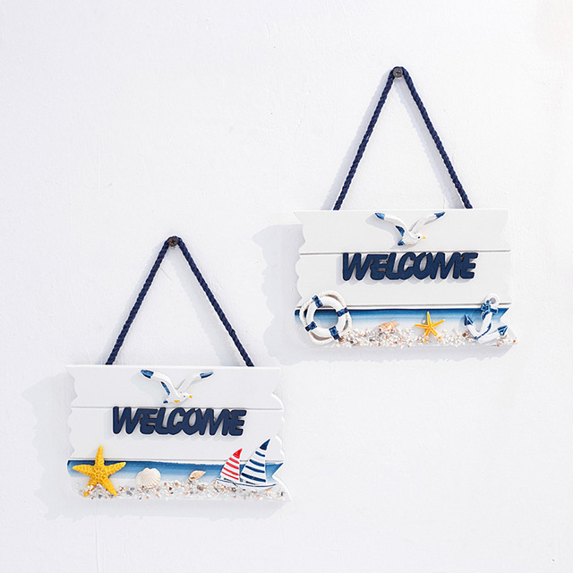 Wooden hanging welcome sign