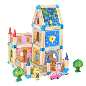 wooden building blocks castle toy