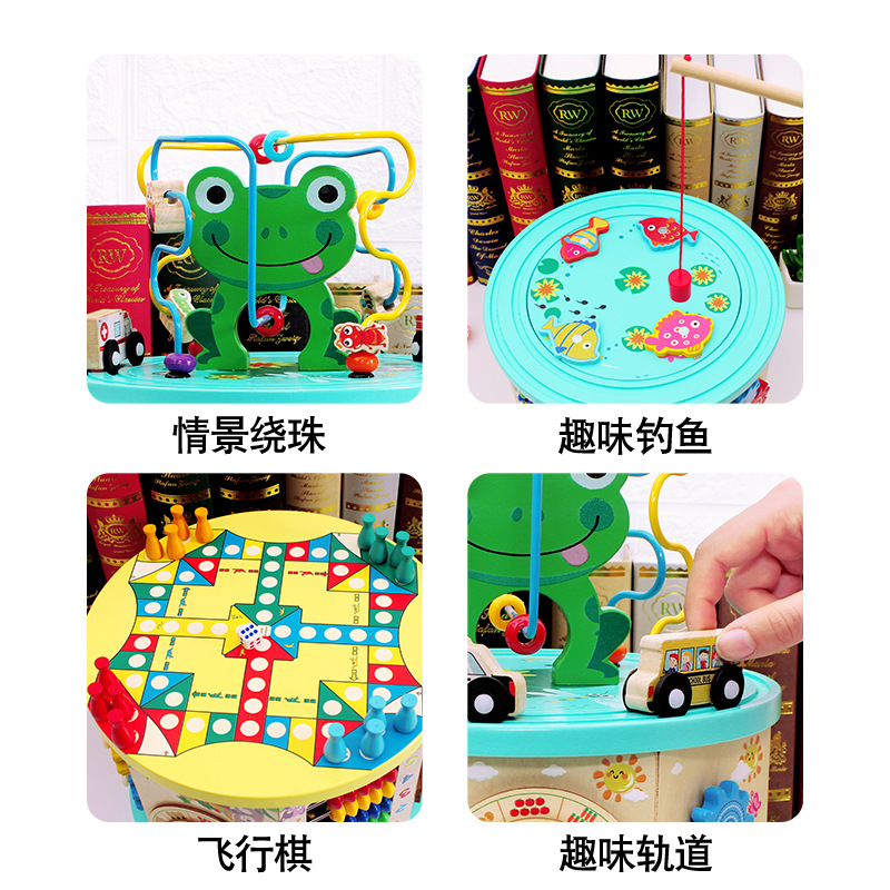 wooden busy zoo activity cube