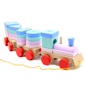 Wooden Stacking Geometry Blocks Train Toy