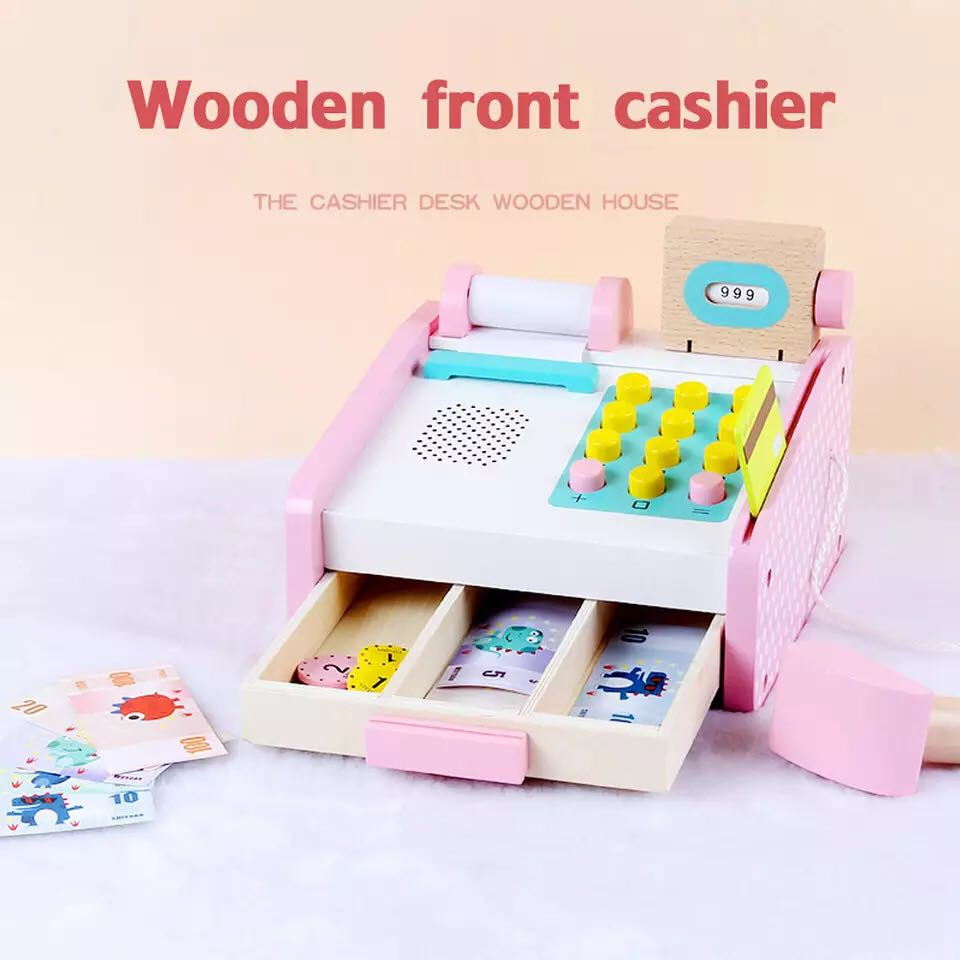 mini wooden cashier machine toy