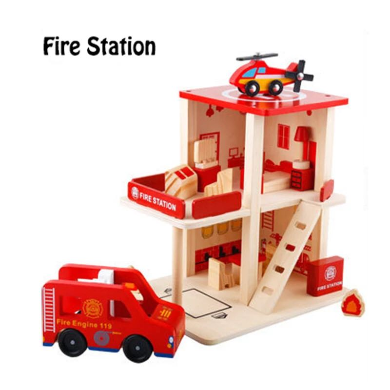 Fire Station Police Station Post Office Wooden Toys