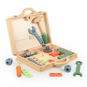 Children Role Play Garden Tool Simulation Kids Wooden Tool Box Toy