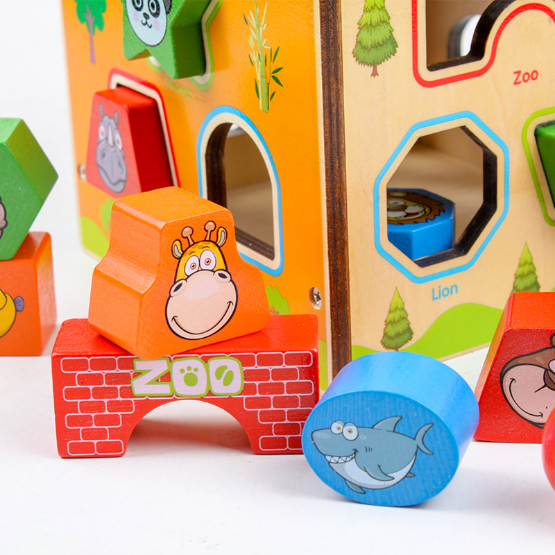 Wooden Cartoon colorful Intelligence Box Building Block Geometric Shape Matching Toy for Kids