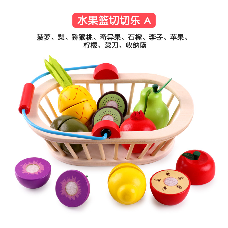wooden Fruit Cutting Food Toys Kitchen Play Food Toys