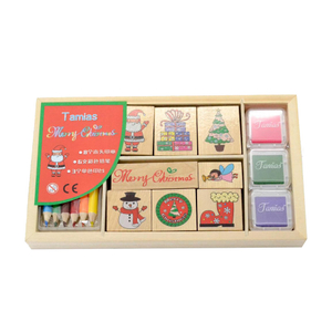 wooden kids toy rubber stamp