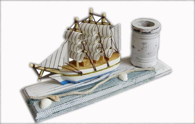 Wooden Pen Holder with Ship