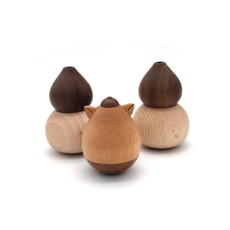 Wooden Animal Figurine Tumbler Doll