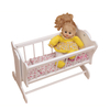 white wooden doll cradle